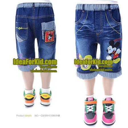 กางเกงยีนส์ขาสามส่วน Mickey Mouse (5size/pack)