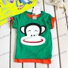 เสื้อยืดแขนสั้นลิงยิ้มแป้น-สีเขียว-(5size/pack)