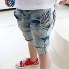 กางเกงยีนส์ขาสามส่วนพับขา-สีฟ้า-(5-ตัว/pack)