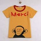 เสื้อยืดแขนสั้นลิงน้อยใส่แว่น-สีเหลือง-(5ตัว/pack)