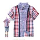 เสื้อเชิ๊ตแขนสั้นลายตาราง--สีเชมพู-(5size/pack)
