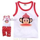 เสื้อกางเกงลิงน้อยยิ้มแป้น-สีแดง-(5size/pack)