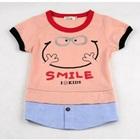 เสื้อยืดแขนสั้น-Smile-สีชมพู-(5size/pack)