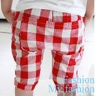 กางเกงขาสามส่วนลายสก็อต-สีแดง-(5-ตัว/pack)