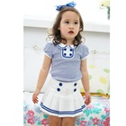 ชุดเสื้อกระโปรงลายขวาง-สีน้ำเงิน-(5-ตัว/pack)