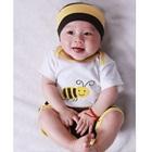 บอดี้สูทพร้อมกางเกงผึ้งน้อย-สีเหลือง-(5-ตัว/pack)
