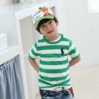 เสื้อยืดแขนสั้น-Polo-ลายขวางสีเขียว-(5size/pack)