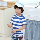 เสื้อยืดแขนสั้น-Polo-ลายขวางสีฟ้า-(5size/pack)