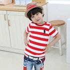 เสื้อยืดแขนสั้น-Polo-ลายขวางสีแดง-(5size/pack)