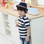 เสื้อยืดแขนสั้น-Polo-ลายขวางสีน้ำเงิน-(5size/pack)