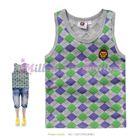 เสื้อกล้ามตารางหมากรุก-สีเทา-(5size/pack)