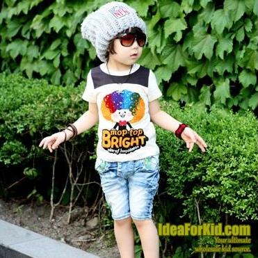 เสื้อยืดคอกลม  Mop-top Bright สีขาว (5size/pack)