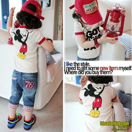 เสื้อยืด Mickey Mouse ขอบสีแดง  (5size/pack)