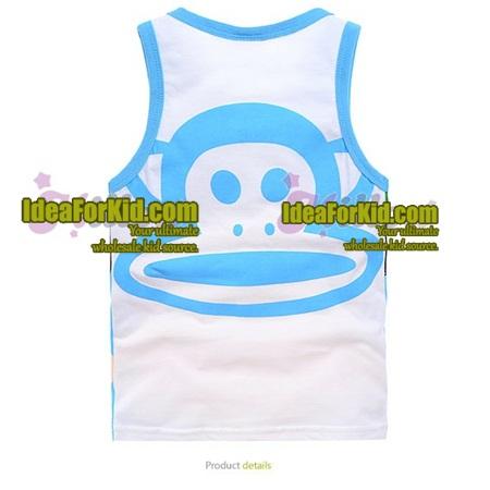 เสื้อกล้าม ลิงยิ้มแย้ม สีฟ้า (6size/pack)