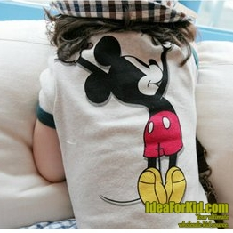 เสื้อยืด Mickey Mouse ขอบสีเขียว  (5size/pack)
