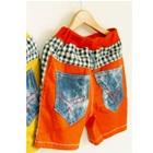 กางเกงขาสั้นลายตาราง-ขอบสีส้มแดง-(5-ตัว/pack)