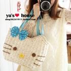 กระเป๋าสาน-Hello-Kitty-สีฟ้า-(5-ใบ/pack)