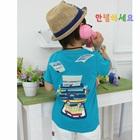 เสื้อยืดแขนสั้นเครื่องพิมพ์ดีด-สีฟ้า-(5-ตัว/-pack)
