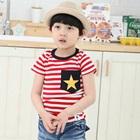 เสื้อยืดแขนสั้นลายขวาง-Star-สีแดง-(5-ตัว/-pack)