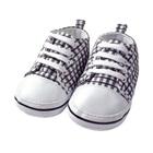 รองเท้าผ้าใบเด็กลายตาราง-สีดำ-(4-คู่/แพ็ค)