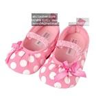 รองเท้าเด็กลายจุดผูกโบว์-สีชมพู-(6-คู่/แพ็ค)