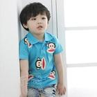 เสื้อโปโลแขนสั้นลิงยิ้มแย้ม-สีฟ้า-(5size/pack)