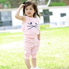ชุดเสื้อกางเกงแมวเหมียว-สีชมพู-(5size/pack)