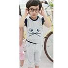 ชุดเสื้อกางเกงแมวเหมียว-สีเทา-(5size/pack)