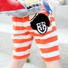 กางเกงขาสั้นลายขวางสมอเรือ-สีส้ม-(5size/pack)