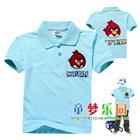เสื้อโปโลแขนสั้น-Angry-Bird-สีฟ้า-(5size/pack)