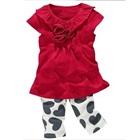 ชุดเสื้อกางเกงดอกกุหลาบ-สีแดง-(5size/pack)