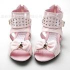 รองเท้าส้นเตี้ยโบว์ใหญ่-สีชมพู-(6-คู่/แพ็ค)