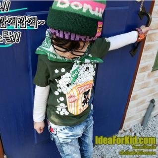 เสื้อยืดลาย Pop Corn สีเขียว  (5size/pack)