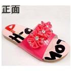 รองเท้าแตะดอกไม้ประดับเพชร-สีชมพู-(5-คู่/แพ็ค)