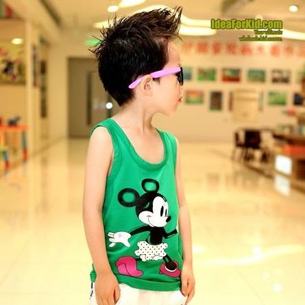 เสื้อกล้าม Minnie Mouse สีเขียว (5size/pack)