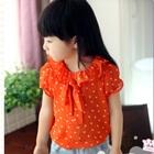 เสื้อแขนสั้นตุ๊กตาลายจุด-สีส้ม-(5size/pack)