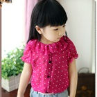 เสื้อแขนสั้นตุ๊กตาลายจุด-สีชมพู-(5size/pack)