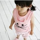ชุดเสื้อกางเกงแมวเหมียว-สีชมพู-(10-ตัว/pack)