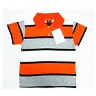 เสื้อโปโลแขนสั้นลายขวาง-สีส้มเทา-(5-ตัว/pack)