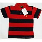 เสื้อโปโลแขนสั้นลายขวาง-สีแดงดำ-(5-ตัว/pack)