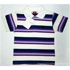 เสื้อโปโลแขนสั้นลายขวาง-สีขาวกรมม่วง-(5-ตัว/pack)