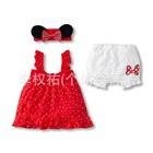 ชุดเดรสกางเกง-Minnie-Mouse-สีแดง-(8-size/pack)