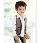 เสื้อกั๊กเด็กลายตารางเล็ก-สีดำขาว-(4ตัว/pack)