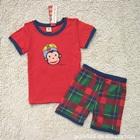 ชุดเสื้อกางเกงลิงยิ้มแย้ม-สีแดง-(5-size/pack)