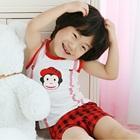 ชุดเสื้อกางเกงลิงร่าเริง-สีแดง-(5-size/pack)