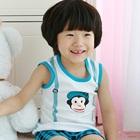 ชุดเสื้อกางเกงลิงร่าเริง-สีฟ้า-(5-size/pack)