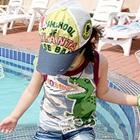 เสื้อกล้ามไดโนเสาร์-ขอบสีม่วง-(5ตัว/pack)