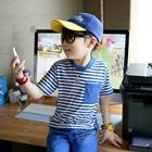 เสื้อยืดเด็กแขนสั้นลายขวาง-สีฟ้า-(5size/pack)