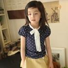 เสื้อเด็กแขนสั้นลายจุด-สีน้ำเงิน-(5size/pack)