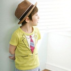 เสื้อยืดเด็กแขนสั้นสกรีนลายสูทสีเหลือง(5-ตัว/pack)